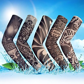 cheap Sleeve Tattoos-1PC Outdoor Cycling Sleeves 3D Tattoo Printed Armwarmer MTB Bike Bicycle Sleeves Arm Protection Ridding Arm Sleeves