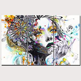 povoljno Trends-Print Stretched Canvas Prints - Ljudi Tradicionalno Moderna Tri plohe Umjetničke grafike