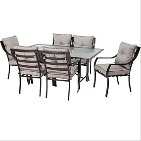 cheap Outdoor Furniture-7-Piece Outdoor Patio Furniture Metal Dining Set with Cushions
