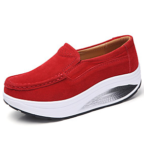 voordelige Damesinstappers & loafers-Dames Loafers & Slip-Ons Blokhak Ronde Teen Leer Lente zomer Zwart / Amandel / Fuchsia