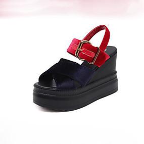 voordelige Damesschoenen met platte hak-Dames Polyester Lente Platte schoenen Sleehak Open teen Goud / Rood