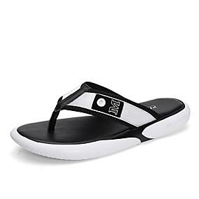 baratos Sandálias e Chinelos Masculinos-Homens Sapatos Confortáveis Couro Ecológico Verão Chinelos e flip-flops Branco / Preto / Vermelho
