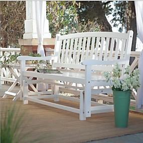 cheap Furniture-4-ft outdoor patio garden glider bench loveseat in white wood