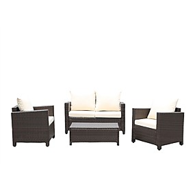 cheap Outdoor Furniture-Modern 4-Piece Outdoor Resin Wicker Patio Furniture Set with Beige Cushions