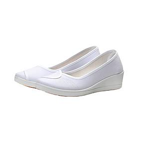 voordelige Damesinstappers & loafers-Dames Loafers & Slip-Ons Sleehak Ronde Teen Microvezel Informeel Zomer Wit / Dagelijks