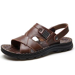 baratos Sandálias Masculinas-Homens Sapatos Confortáveis Pele Outono / Primavera Verão Vintage / Casual Sandálias Respirável Preto / Marron / Café / Ao ar livre