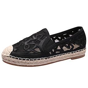 voordelige Damesinstappers & loafers-Dames Loafers & Slip-Ons Dress Loafers Platte hak Ronde Teen Netstof Klassiek / minimalisme Wandelen Lente & Herfst / Zomer Wit / Zwart