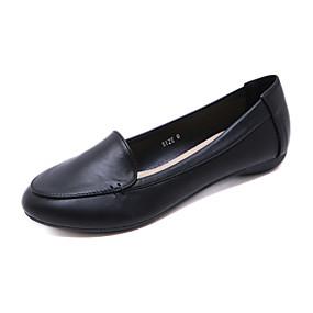 voordelige Damesschoenen met platte hak-Dames Platte schoenen Comfort schoenen Platte hak Ronde Teen Imitatieleer minimalisme Lente & Herfst Zwart / Bruin