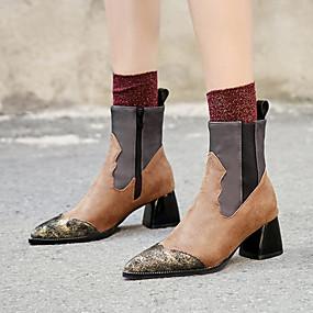 billige Mote Boots-Dame Støvler Fashion Boots Tykk hæl Spisstå PU Støvletter Vintage / Britisk Høst vinter Svart / Brun / Fest / aften