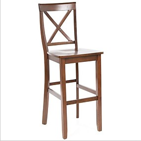 cheap Kitchen & Dining Furniture-Set of 2 - X-Back 30-inch Solid Wood Barstool in Mahogany Finish