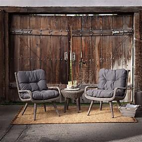 billige Møbler-Værbestandig flettet harpiks patio møbler sett med 2 stoler puter og bord