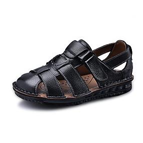 baratos Sandálias Masculinas-Homens Sapatos de couro Couro Primavera Verão Temática Asiática Sandálias Respirável Preto / Marron