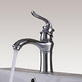 Недорогие Смесители-Ванная раковина кран - Широко распространенный Хром По центру Одной ручкой одно отверстиеBath Taps