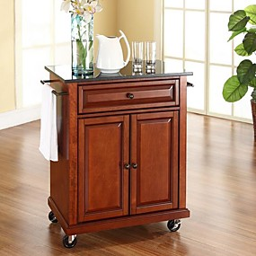 cheap Kitchen & Dining Furniture-Cherry Portable Kitchen Island Cart w/ Granite Top & Locking Wheels