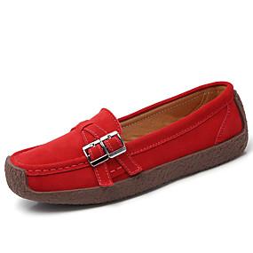 voordelige Damesinstappers & loafers-Dames Loafers & Slip-Ons / Bootschoenen Platte hak Ronde Teen Leer Lente zomer Zwart / Amandel / Rood / Dagelijks