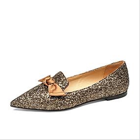 voordelige Damesinstappers & loafers-Dames Polyester Lente Loafers & Slip-Ons Lage hak Gepuntte Teen Goud / Zwart / Blauw