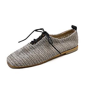 voordelige Damesinstappers & loafers-Dames Loafers & Slip-Ons Platte hak Vierkante Teen Tricot / Linnen Informeel Lente zomer Beige / Grijs