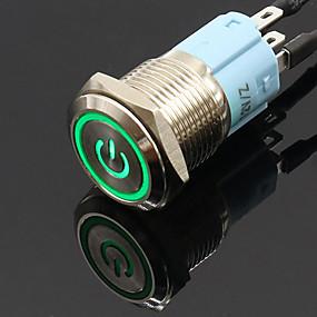 povoljno Novi dolasci u srpnju-16mm 12v metalni prekidač s prekidačem napajanja zaključavanjem automatskog resetiranja