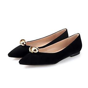 voordelige Damesschoenen met platte hak-Dames Platte schoenen Leren schoenen Platte hak Gepuntte Teen Parel Suède Zoet / minimalisme Herfst / Lente zomer Zwart / Wijn