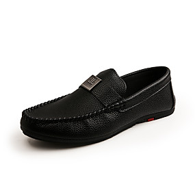 cheap Men's Shoes-Men's Moccasin Faux Leather Spring & Summer / Fall & Winter Business / Casual Loafers & Slip-Ons Breathable White / Black / Orange