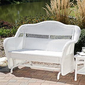 cheap Outdoor Furniture-white resin wicker outdoor 2-seat loveseat glider bench patio armchair