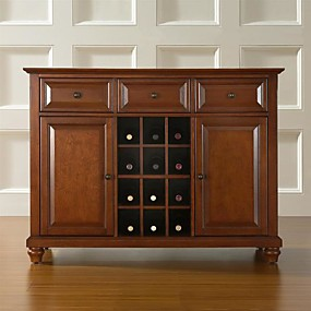 cheap Kitchen & Dining Furniture-Classic Cherry Wood Finish Dining Room Sideboard Buffet with Wine Storage