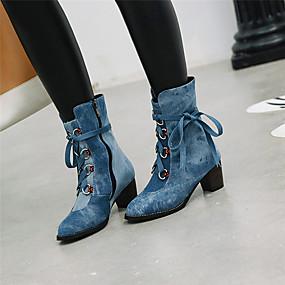 billige Mote Boots-Dame Støvler Tykk hæl Rund Tå Denim Ankelstøvler Søt Vinter Mørkeblå / Lilla / Lyseblå