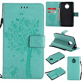 hesapli Cep Telefonu Kılıfları-Pouzdro Uyumluluk Motorola Moto E4 Plus Cüzdan / Kart Tutucu / Flip Tam Kaplama Kılıf ağaç / Çiçek Sert PU Deri