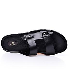 baratos Sandálias e Chinelos Masculinos-Homens Sapatos Confortáveis Pele / Couro Ecológico Verão Casual Chinelos e flip-flops Não escorregar Preto / Castanho Claro / Castanho Escuro