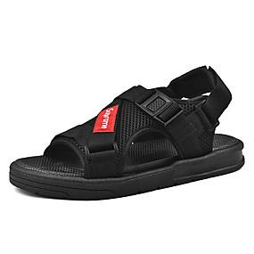 baratos Sandálias Masculinas-Homens Sapatos Confortáveis Lona / Com Transparência Primavera Verão Casual Sandálias Caminhada Respirável Preto / Ao ar livre