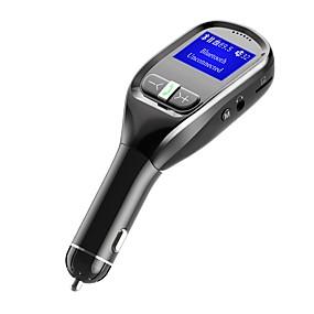 billige Nyankomne i august-Bluetooth FM-sender for bil trådløs bil-FM-sender Radioadapter sett med håndfri ringe Bluetooth Stereoadapter 5V / 3.1a Universell Billader med Dobbel USB