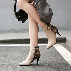 billige Mote Boots-Dame Støvler Stiletthæl Spisstå Spenne Fuskelær Ankelstøvler Forretning / Britisk Vår & Vinter Svart / Vin / Mandel / Bryllup / Fest / aften / Fargeblokk