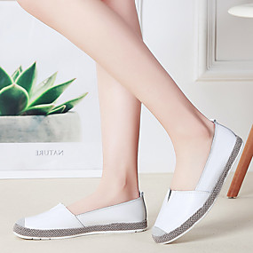voordelige Damesinstappers & loafers-Dames Loafers & Slip-Ons Platte hak Ronde Teen Leer Brits / minimalisme Wandelen Lente & Herfst / Zomer Zwart / Wit / Zilver