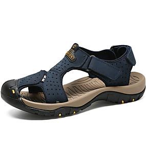 baratos Sandálias Masculinas-Homens Sapatos Confortáveis Lona / Couro Envernizado Primavera Verão Casual Sandálias Caminhada Absorção de choque Preto / Castanho Escuro / Amarelo / Ao ar livre