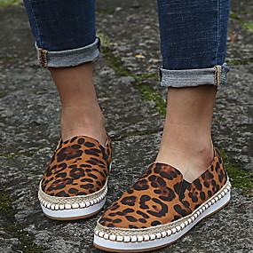 voordelige Damesschoenen met platte hak-Dames Platte schoenen Platte hak Ronde Teen PU Zomer Zwart / Luipaard / Roze