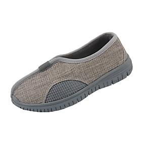voordelige Damesinstappers & loafers-Dames Loafers & Slip-Ons Platte hak Ronde Teen Suède / Linnen Vintage Zomer Beige / Grijs / Kleurenblok