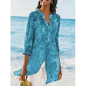 Недорогие Ежедневные предложения-Жен. С принтом Блуза V-образный вырез Уличный стиль Геометрический принт Синий US8 / UK12 / EU40