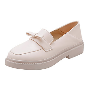 voordelige Damesinstappers & loafers-Dames Loafers & Slip-Ons Platte hak Ronde Teen PU Lente & Herfst Zwart / Beige / Amandel