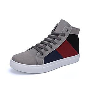 baratos Tênis Masculino-Homens Fashion Boots Lona / Couro Ecológico Outono & inverno Tênis Estampa Colorida Branco / Preto / Cinzento