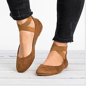 voordelige Damesschoenen met platte hak-Dames Platte schoenen Platte hak Ronde Teen PU Lente & Herfst Zwart / Donker Bruin / Bruin