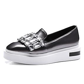voordelige Damesinstappers & loafers-Dames Loafers & Slip-Ons Creepers Vierkante Teen Strass PU Vintage / Studentikoos Lente & Herfst Zwart en Gold / Groen