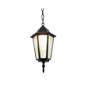 abordables Plafonniers-pendentif huilé lumière extérieure étanche jardin mur lanterne lampes suspendues pour couloir restaurant ferme maison noir