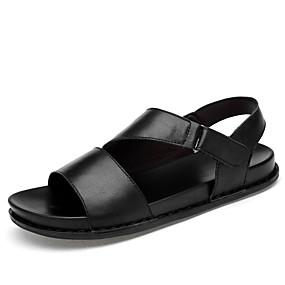 baratos Sandálias Masculinas-Homens Sapatos Confortáveis Pele Napa Verão Sandálias Respirável Preto