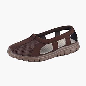 billige Herresandaler-Herre Komfort Sko Netting Sommer Vintage Sandaler Pustende Fargeblokk Gul / Grå / kaffe