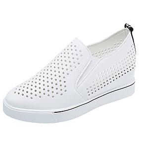 voordelige Damesinstappers & loafers-Dames Loafers & Slip-Ons Sleehak Ronde Teen PU Informeel Lente zomer Zwart / Wit / Zilver / Dagelijks