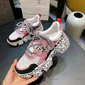 baratos Sapatos Esportivos Femininos-Mulheres Tênis Calcanhar escondido Pele de Carneiro Corrida Primavera Vermelho / Rosa claro / Cinzento
