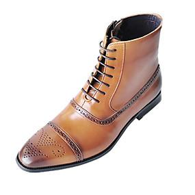baratos Botas Masculinas-Homens Fashion Boots Couro Ecológico Verão / Outono & inverno Botas Botas Cano Médio Preto / Castanho Escuro / Amarelo / Escritório e Carreira / Coturnos