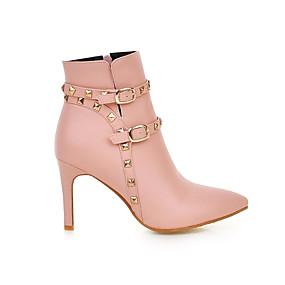 billige Mote Boots-Dame Støvler Fashion Boots Stiletthæl Spisstå Nagle / Spenne PU Ankelstøvler Høst vinter Svart / Beige / Rosa / Fest / aften