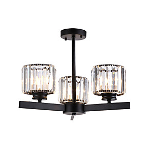 cheap Ceiling Lights & Fans-Ceiling Light Crystals Crystal Chandeliers Semi Flush Mount Round Crystal Cup Pendant Lamp Bedroom LED Chandelier Pendant Lights 3-Light Black K 9 Ceiling Pendant Lighting