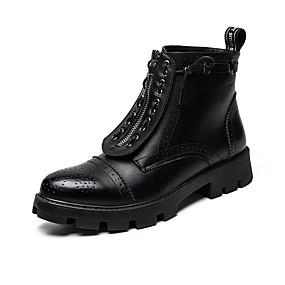 baratos Botas Masculinas-Homens Fashion Boots Couro Sintético Primavera Verão / Outono & inverno Casual / Formais Botas Não escorregar Botas Cano Médio Preto